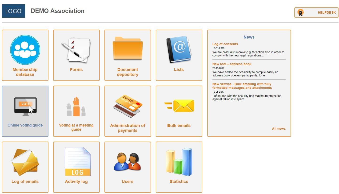 Administration dashboard